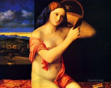 oil Works - Lady at her toilette Renaissance Giovanni Bellini